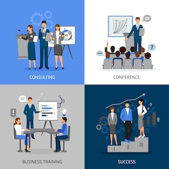 Szkolenie biznesowe zestaw obrazów 2x2