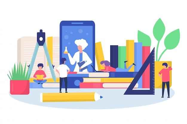 Szkolenie edukacyjne online z dziećmi uczącymi się w aplikacji mobilnej, książkach, ilustracjach komputerowych.