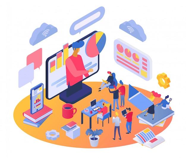 Szkolenie izometryczne, postać trenera kreskówek ucząca ludzi, korzystająca z aplikacji do połączeń wideo, edukacja online