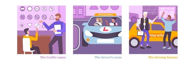Szkolenie w szkole jazdy zestaw z symbolami licencji płaskie na białym tle