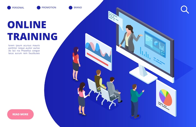 Szkolenie wideo izometryczny online, ilustracja webinaru. baner edukacji online, koncepcja strony docelowej