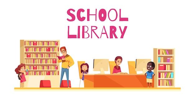 Szkolna biblioteka z uczniami rezerwuje skrzynki i komputery na białej tło kreskówce