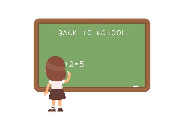 Szkolna dziewczyny pozycja przy blackboard płaską wektorową ilustracją. uczeń szkoły podstawowej rozwiązywania zadań matematycznych w pobliżu tablicy postać z kreskówki. zadanie dodawania i odejmowania na lekcji matematyki