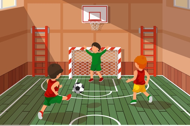 Szkolna gra w piłkę nożną. dzieci grają w piłkę nożną. schody sportowe, gra w sali szkolnej, koszykówka i ilustracja wektorowa obszaru piłki nożnej
