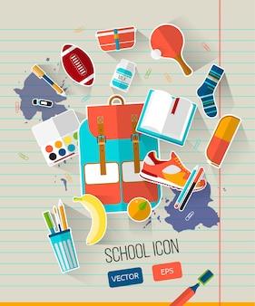 Szkolna ilustracja z szkolnymi przedmiotami.