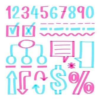 Szkolna kolekcja elementów plansza z kolorowymi markerami