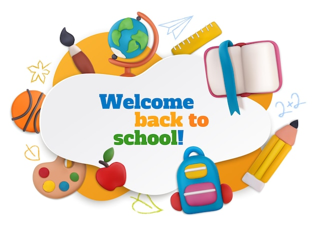 Szkolna kompozycja z plasteliny z symbolami powitania w szkole