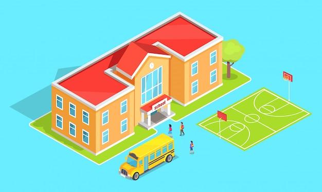 Szkolna pomarańczowa dwukondygnacyjna szkoła i żółty autobus