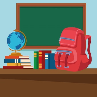 Szkolna sala lekcyjna z biurkiem i blackboard
