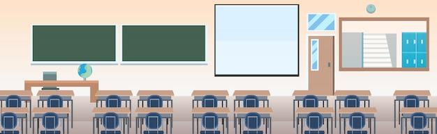 Szkolna sala lekcyjna z meblami deska biurko pusty brak ludzi klasa pokój wnętrze poziome