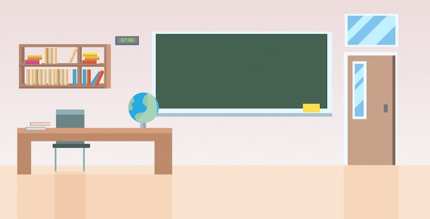 Szkolna sala lekcyjna z meblami pusta bez ludzi klasa pokój wnętrze poziome