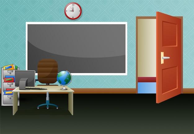 Szkolna sala lekcyjna z tablicą i biurkiem dla nauczycieli