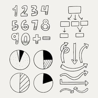Szkolne elementy plansza ręcznie rysowane