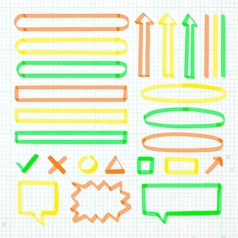 Szkolne elementy plansza z zestaw kolorowych markerów