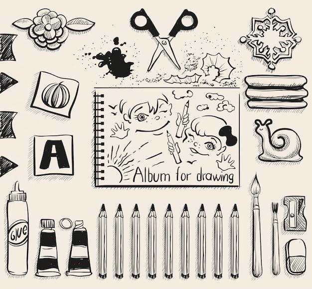 Szkolne materiały biurowe widok z góry, nożyczki, album, ołówki, klej, gumka, pędzel i rozmazywanie