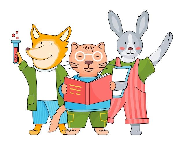 Szkolne postacie zwierząt, studentów lub uczniów. słodkie animowane zwierzęta w szkole z podręcznikami i zeszytami, które czytają i uczą się