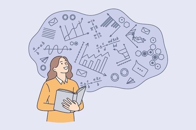 Szkolnictwo wyższe w koncepcji uczelni. młoda uśmiechnięta studentka stojąca ucząca się matematyki na uniwersytecie z ilustracji wektorowych formuł
