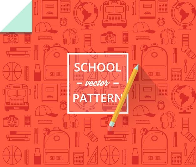 Szkolny bezszwowy wzór. powrót do szkoły ilustracji do papieru do pakowania.