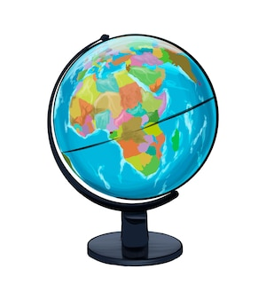 Szkolny globus geograficzny z wielokolorowych farb kolorowy rysunek realistyczny