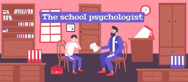 Szkolny psycholog pomaga uczniowi ilustrować