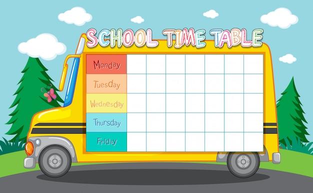 Szkolny stół czasowy z autobusem szkolnym