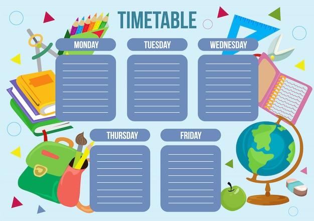 Szkolny stół czasowy z obiektem szkolnym