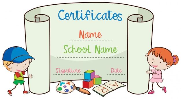 Szkolny szablon certyfikatu sztuki z doodle dzieci