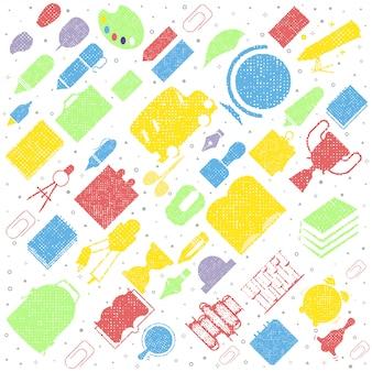 Szkolny tło z ręki rysować szkolnymi dostawami. powrót do szkoły