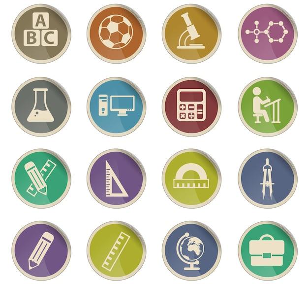 Szkoły wektorowe ikony w postaci okrągłych etykiet papierowych
