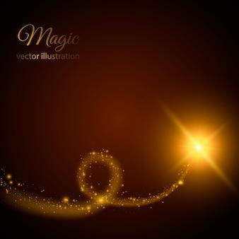 Szlak złotej gwiazdy z cząsteczkami. ilustracja. magiczne światło