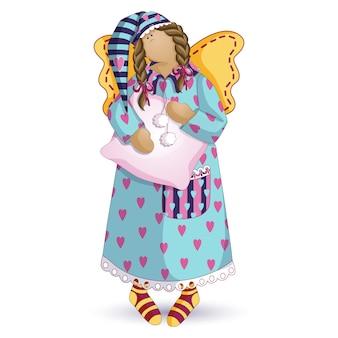 Szmaciana lalka śpiący anioł.