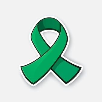 Szmaragdowa lub jadeitowa wstążka międzynarodowy symbol świadomości na temat wirusowego zapalenia wątroby typu b ilustracja wektorowa