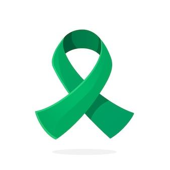 Szmaragdowa lub jadeitowa wstążka symbol świadomości na temat zapalenia wątroby typu b i raka wątroby ilustracja wektorowa