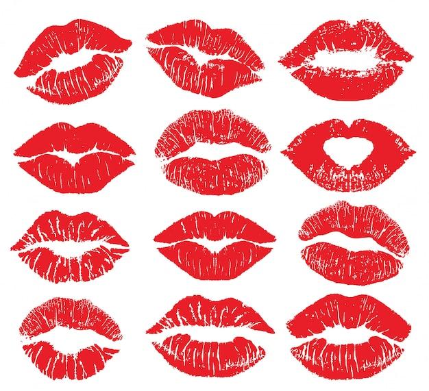 Szminka pocałunek wydruku na białym tle duży zestaw. czerwone usta ustawione. różne kształty kobiecych seksownych czerwonych ust. seksowny makijaż ust, pocałunek w usta. kobiece usta. odcisk warg pocałunku