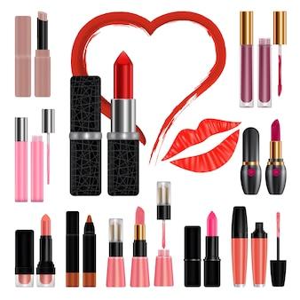 Szminka zestaw makieta pocałunek. realistyczna ilustracja 11 makiet szminki dla sieci