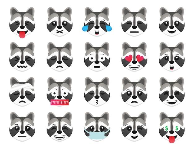 Szop emotikon uśmiech kolekcja ikon. zestaw emoji szop kreskówka. wektor zestaw emotikonów