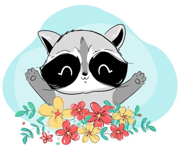 Szop i kwiaty. ilustracja. leśne słodkie zwierzę.