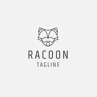 Szop linia sztuki wielokątne logo ikona szablon projektu płaski wektor