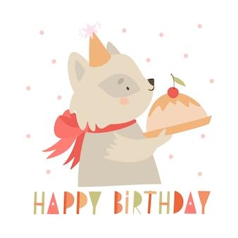 Szop pracz gospodarstwa pozdrowienia urodziny ciasto