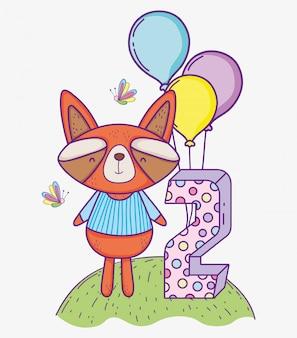 Szop pracz wszystkiego najlepszego z okazji urodzin dwa rok z balonami