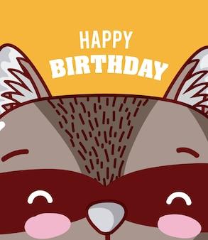 Szop pracz z okazji urodzin słodkie kreskówki kart