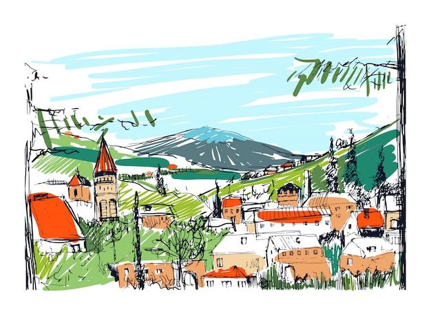 Szorstki kolorowy szkic małe starożytne gruzińskie miasteczko, budynki i drzewa na tle wysokich gór w tle. odręczny rysunek krajobrazu z osadą na zboczu wzgórza. ilustracja.