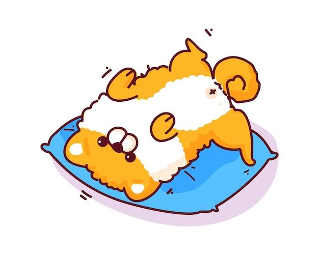 Szpic miniaturowy leży na plecach na poduszce ręcznie rysowana ilustracja kreskówka