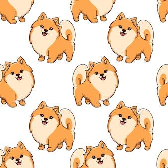 Szpic pomorski bez szwu rysunek mały uśmiechnięty pies szczeniak ilustracji wektorowych