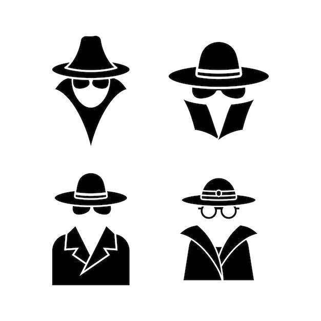 Szpieg zestaw ikon ilustracja na białym tle
