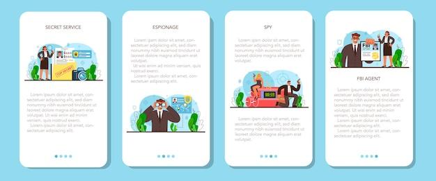 Szpiegowski baner aplikacji mobilnej ustawiony tajny agent lub fbi badający przestępstwo
