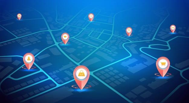 Szpilki gps z szyldowymi ikonami pokazuje na miasto mapy błękitnym kolorze