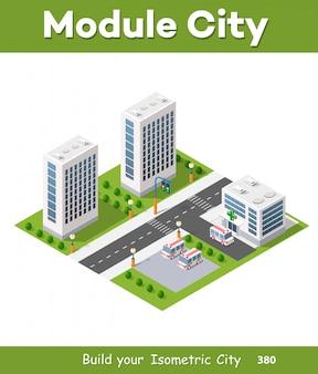 Szpital izometryczny 3d budynku