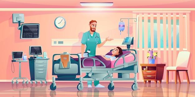 Szpital klinika pokój wewnętrzny pacjent i lekarz