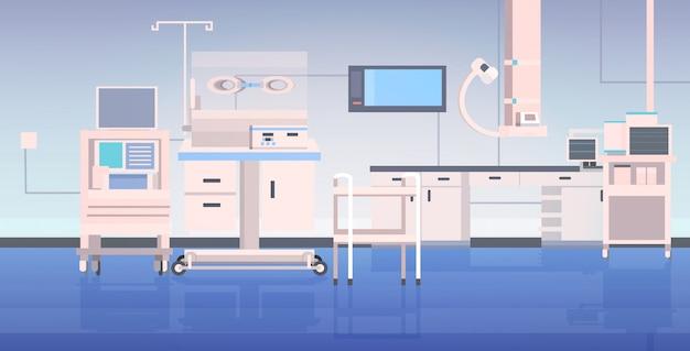 Szpital stół operacyjny i urządzenia medyczne nowoczesna klinika chirurgia pokój szpital wnętrze intensywna terapia procedury chirurgiczne koncepcja poziome